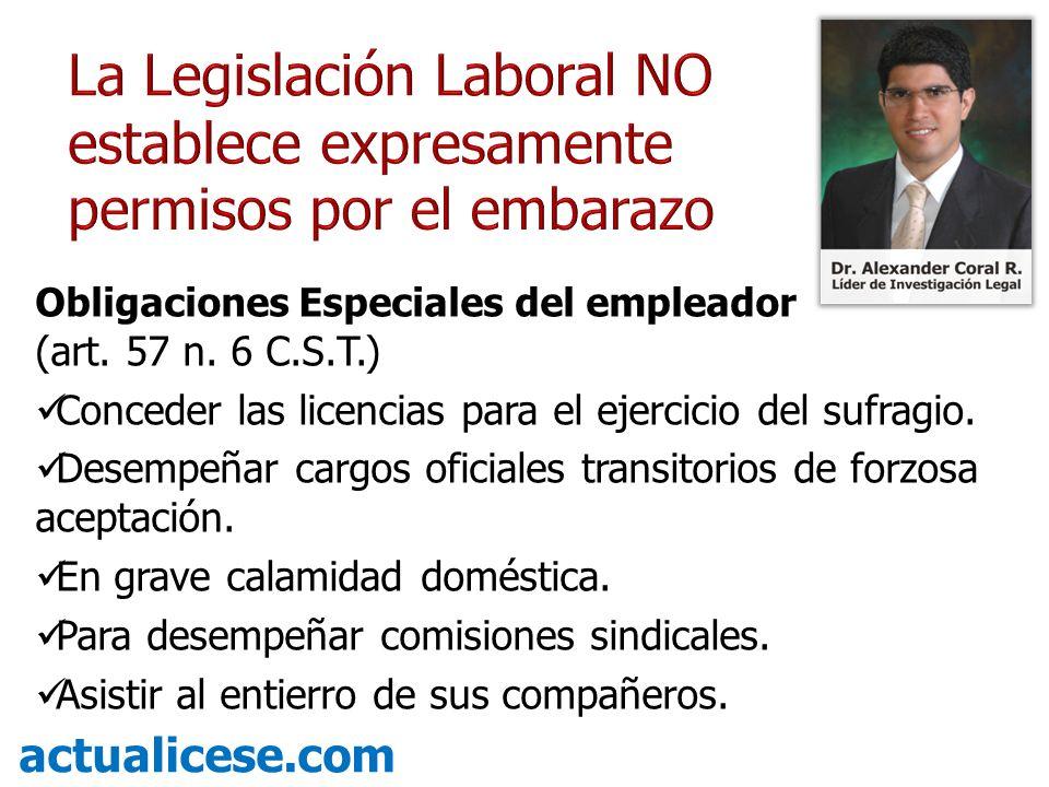 Obligaciones Especiales del empleador (art. 57 n. 6 C.S.T.) Conceder las licencias para el ejercicio del sufragio. Desempeñar cargos oficiales transit