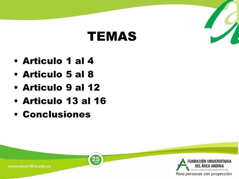 TEMAS Articulo 1 al 4 Articulo 5 al 8 Articulo 9 al 12 Articulo 13 al 16 Conclusiones