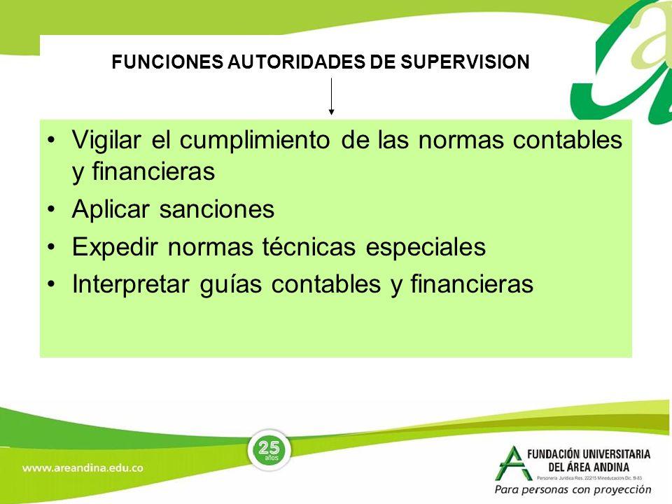 FUNCIONES AUTORIDADES DE SUPERVISION Vigilar el cumplimiento de las normas contables y financieras Aplicar sanciones Expedir normas técnicas especiale