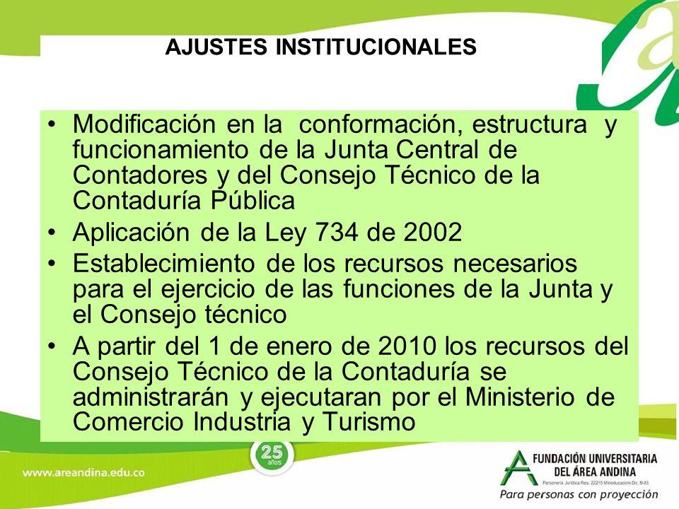 AJUSTES INSTITUCIONALES Modificación en la conformación, estructura y funcionamiento de la Junta Central de Contadores y del Consejo Técnico de la Con