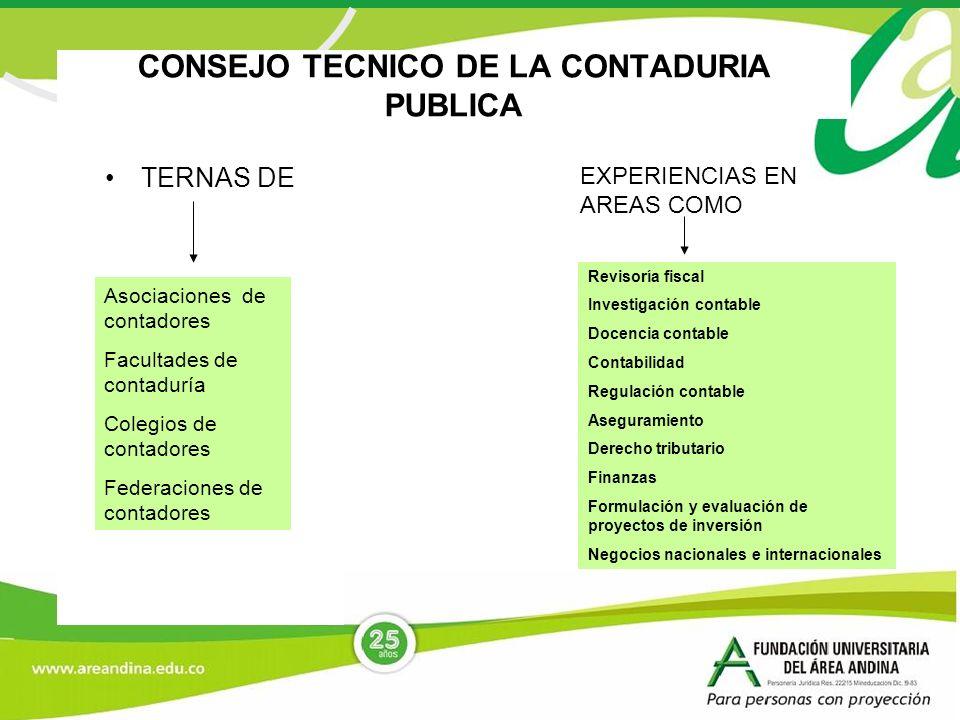 CONSEJO TECNICO DE LA CONTADURIA PUBLICA TERNAS DE Asociaciones de contadores Facultades de contaduría Colegios de contadores Federaciones de contador