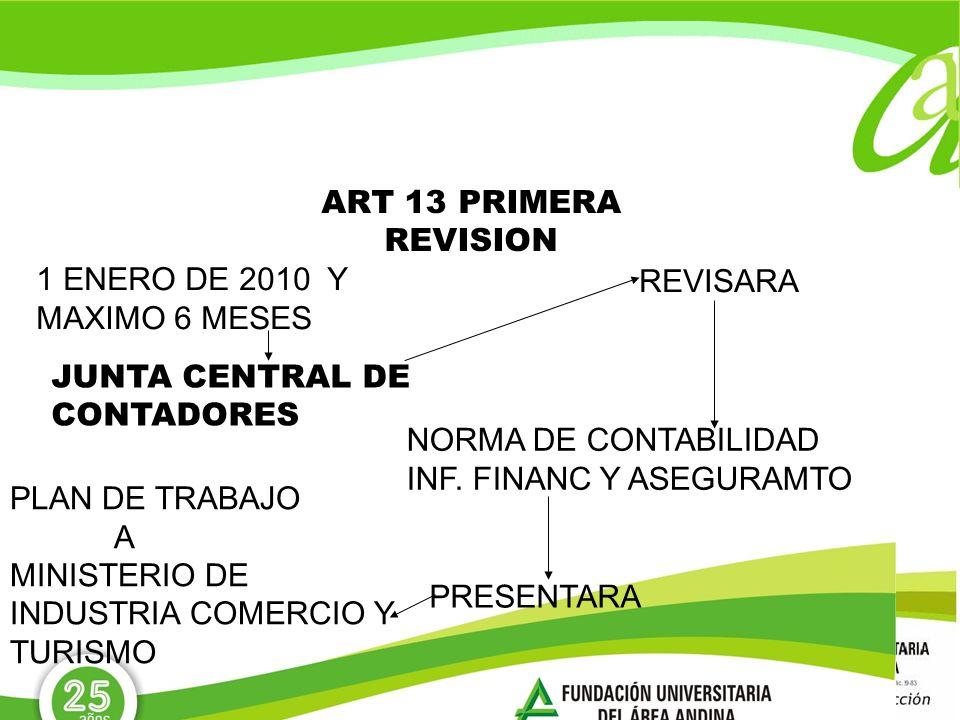 ART 13 PRIMERA REVISION 1 ENERO DE 2010 Y MAXIMO 6 MESES JUNTA CENTRAL DE CONTADORES REVISARA NORMA DE CONTABILIDAD INF. FINANC Y ASEGURAMTO PLAN DE T