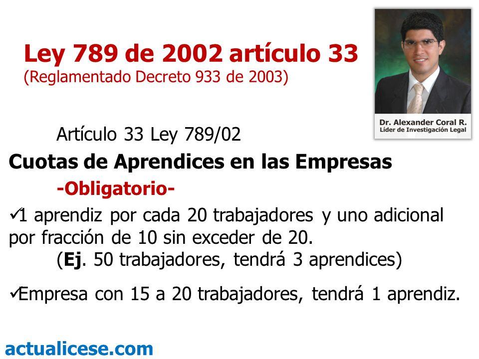 actualicese.com Ley 789 de 2002 artículo 33 (Reglamentado Decreto 933 de 2003) Artículo 33 Ley 789/02 Cuotas de Aprendices en las Empresas -Obligatori