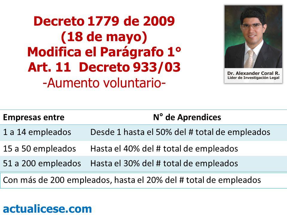 actualicese.com Con más de 200 empleados, hasta el 20% del # total de empleados Decreto 1779 de 2009 (18 de mayo) Modifica el Parágrafo 1° Art. 11 Dec