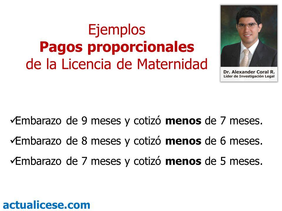 actualicese.com Fórmula para liquidar Pagos proporcionales de la Licencia de Maternidad Días cotizados durante el embarazo X 84 270 Valor de la Licencia = Ejemplo: Eliana cotizó 5 meses durante su embarazo de 9 meses, su Licencia pagada por la EPS será por 46 días.