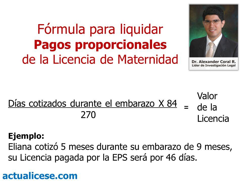 actualicese.com Fórmula para liquidar Pagos proporcionales de la Licencia de Maternidad Días cotizados durante el embarazo X 84 270 Valor de la Licenc