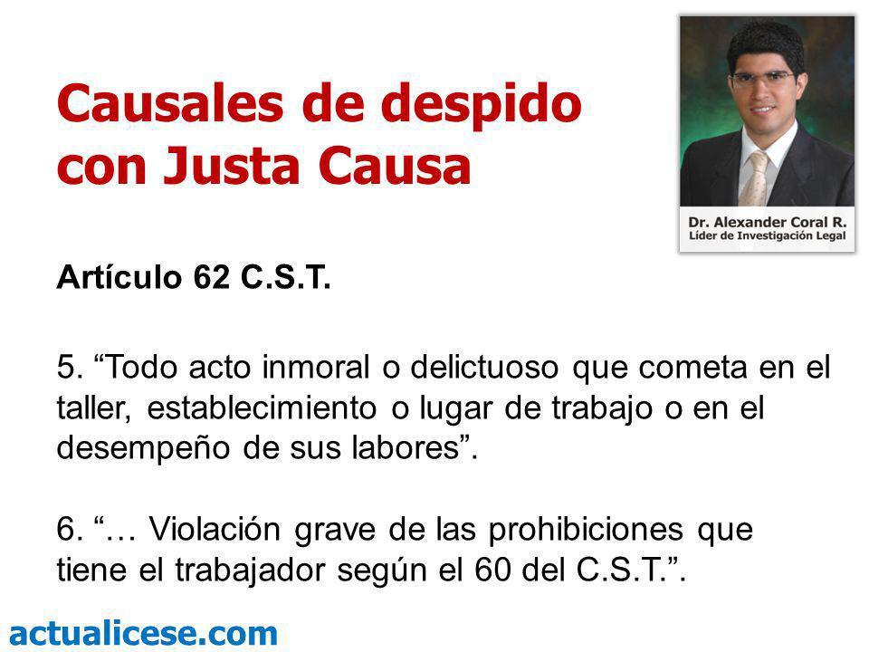 actualicese.com Causales de despido con Justa Causa Art.