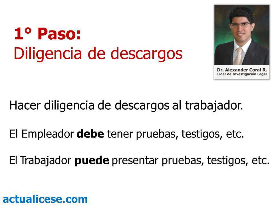 actualicese.com 2° Paso: Analizar y tomar la decisión Terminada la diligencia de descargos, el empleador decide si lo convence o no.