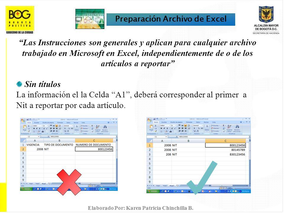 Preparación Archivo de Excel Las Instrucciones son generales y aplican para cualquier archivo trabajado en Microsoft en Excel, independientemente de o de los artículos a reportar Sin títulos La información el la Celda A1, deberá corresponder al primer a Nit a reportar por cada artículo.