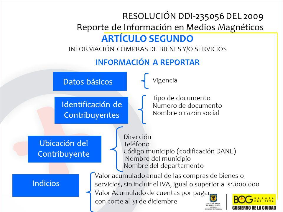 ARTÍCULO SEGUNDO INFORMACIÓN COMPRAS DE BIENES Y/O SERVICIOS INFORMACIÓN A REPORTAR Indicios Tipo de documento Numero de documento Nombre o razón soci