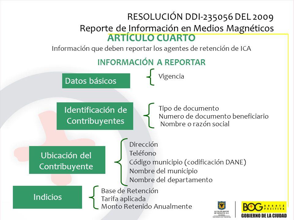 ARTÍCULO CUARTO Información que deben reportar los agentes de retención de ICA INFORMACIÓN A REPORTAR Dirección Teléfono Código municipio (codificació