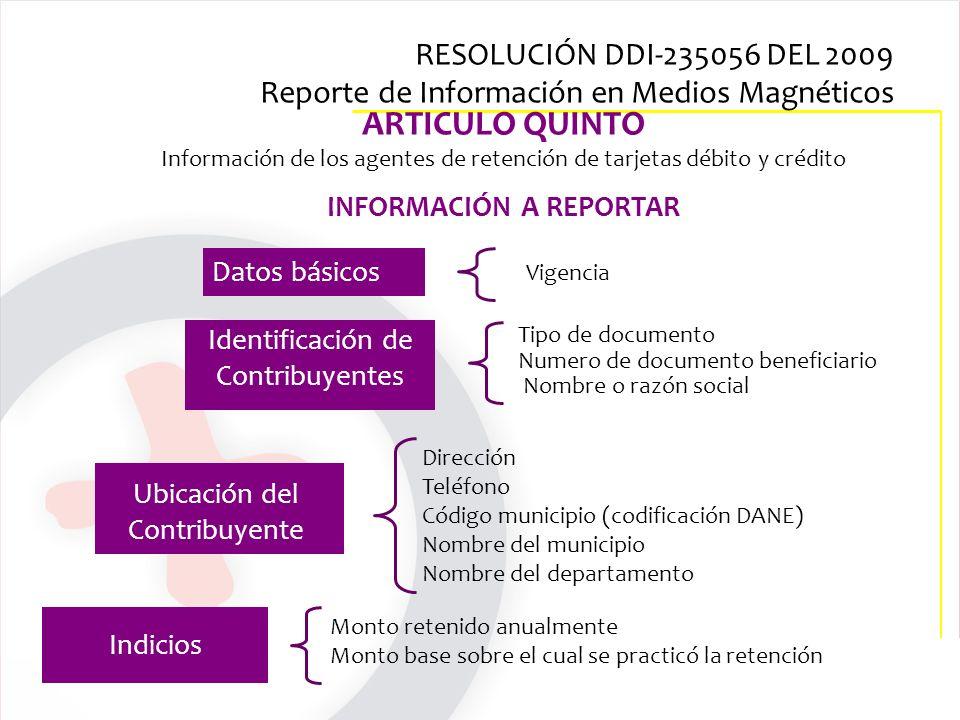 ARTICULO QUINTO Información de los agentes de retención de tarjetas débito y crédito INFORMACIÓN A REPORTAR Dirección Teléfono Código municipio (codif