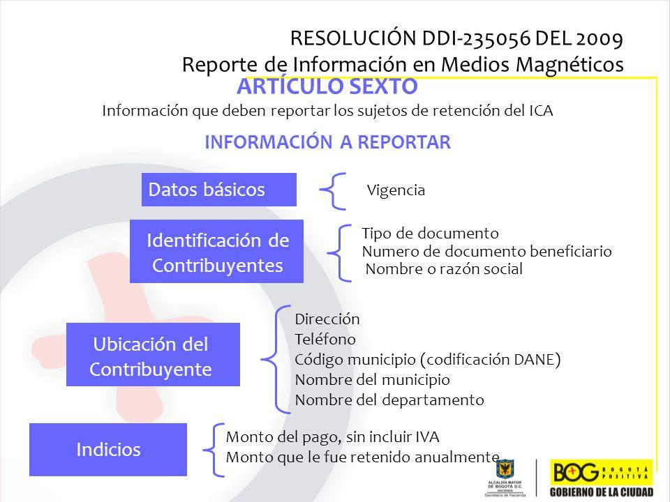 ARTÍCULO SEXTO Información que deben reportar los sujetos de retención del ICA INFORMACIÓN A REPORTAR Dirección Teléfono Código municipio (codificació