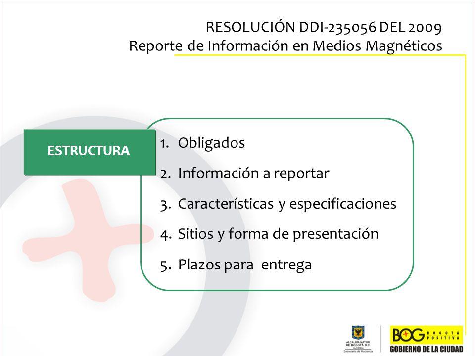 1.Obligados 2.Información a reportar 3.Características y especificaciones 4.Sitios y forma de presentación 5.Plazos para entrega ESTRUCTURA RESOLUCIÓN