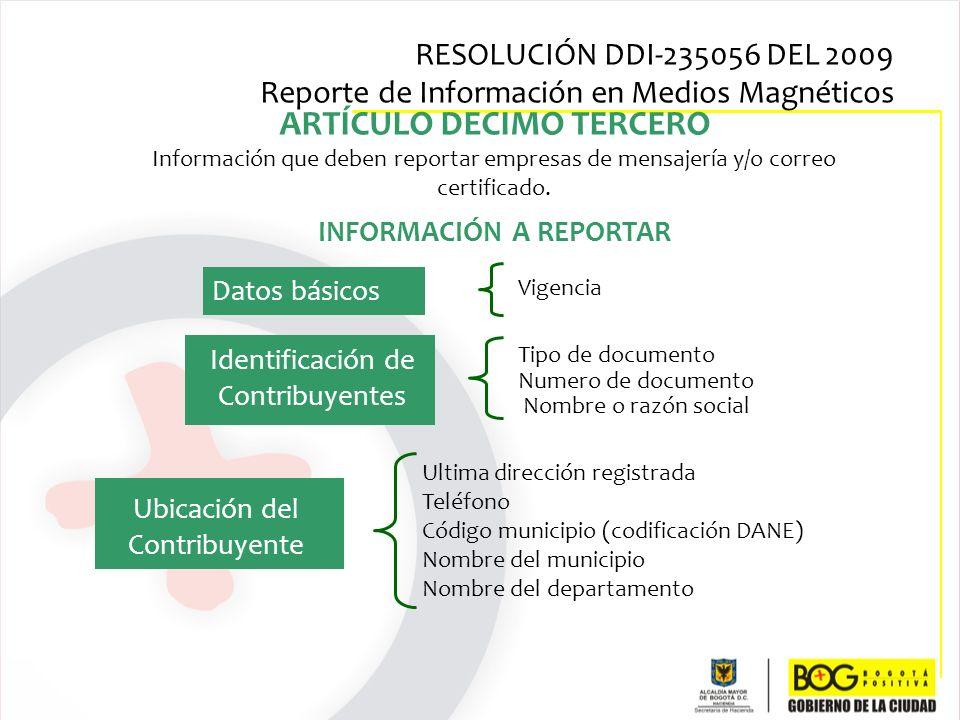 ARTÍCULO DECIMO TERCERO Información que deben reportar empresas de mensajería y/o correo certificado. INFORMACIÓN A REPORTAR Ultima dirección registra