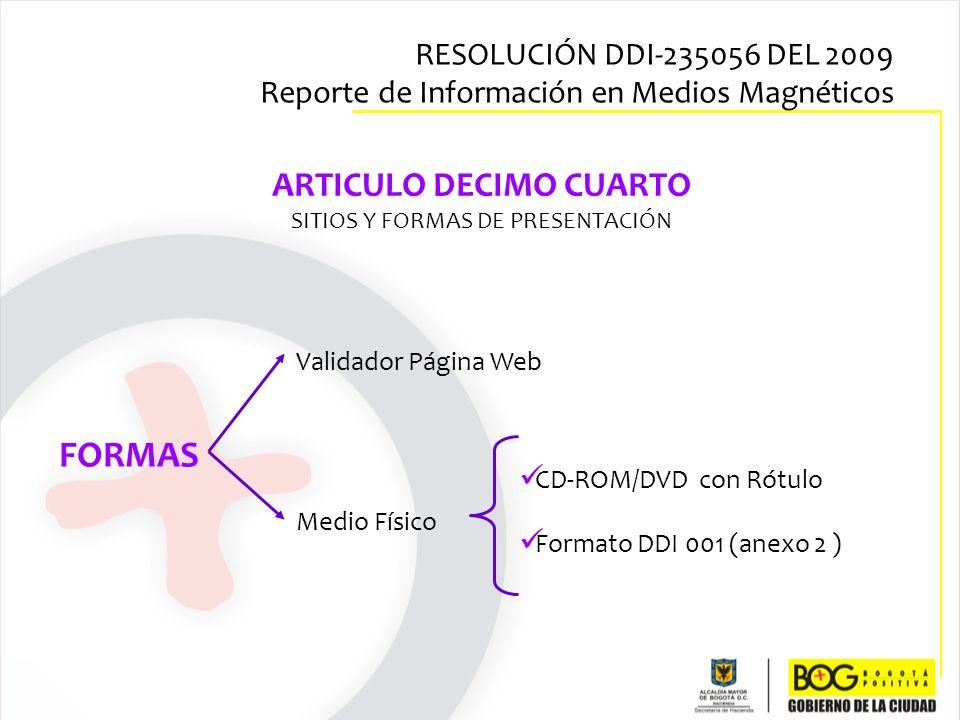 ARTICULO DECIMO CUARTO SITIOS Y FORMAS DE PRESENTACIÓN CD-ROM/DVD con Rótulo Formato DDI 001 (anexo 2 ) Validador Página Web Medio Físico FORMAS RESOL