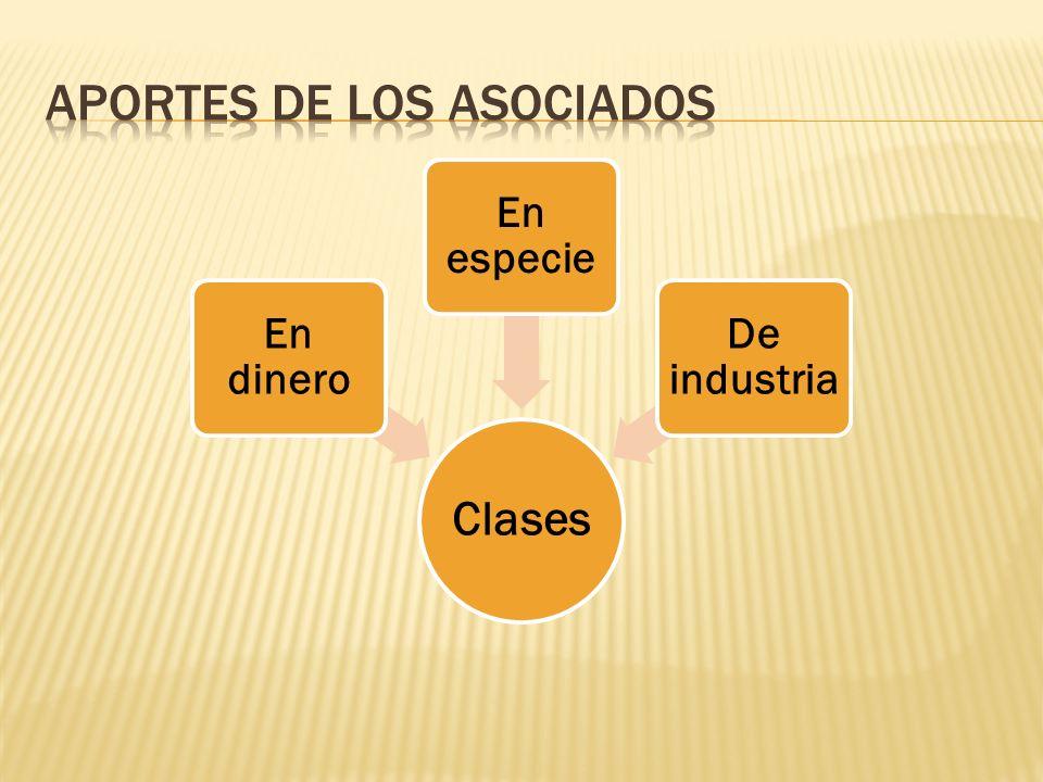 Clases En dinero En especie De industria