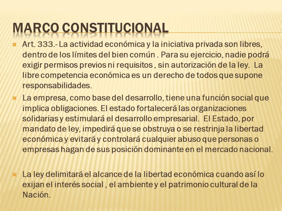 Art. 333.- La actividad económica y la iniciativa privada son libres, dentro de los límites del bien común. Para su ejercicio, nadie podrá exigir perm