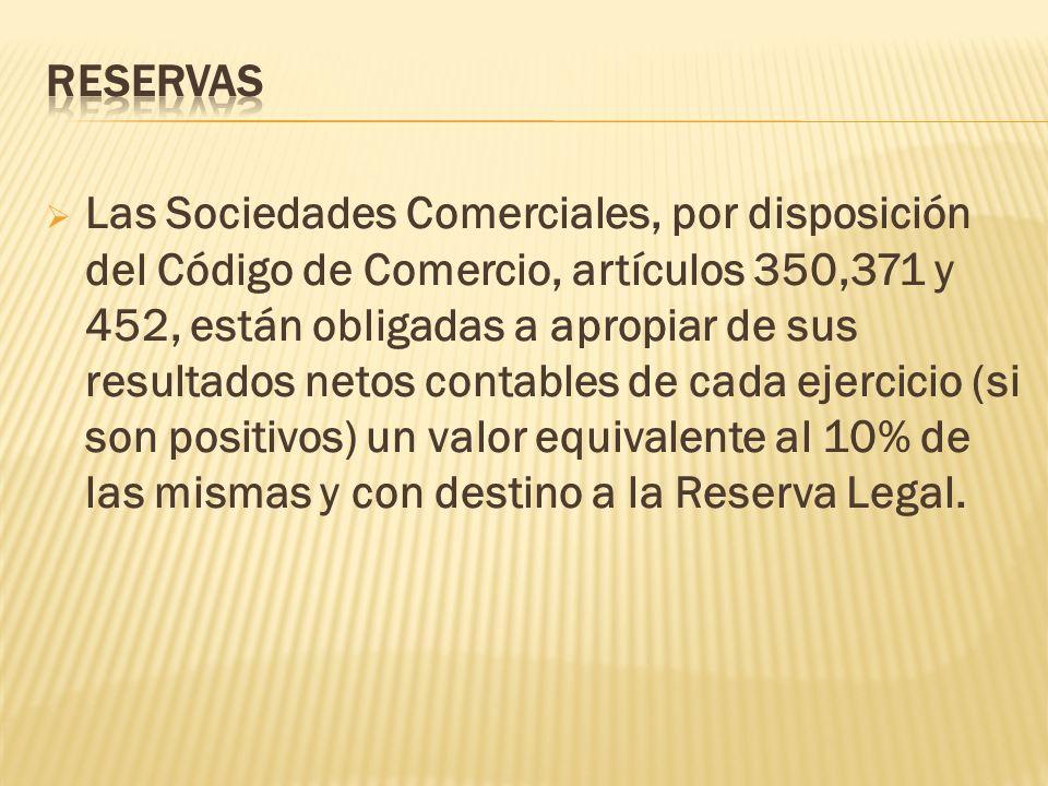 Las Sociedades Comerciales, por disposición del Código de Comercio, artículos 350,371 y 452, están obligadas a apropiar de sus resultados netos contab