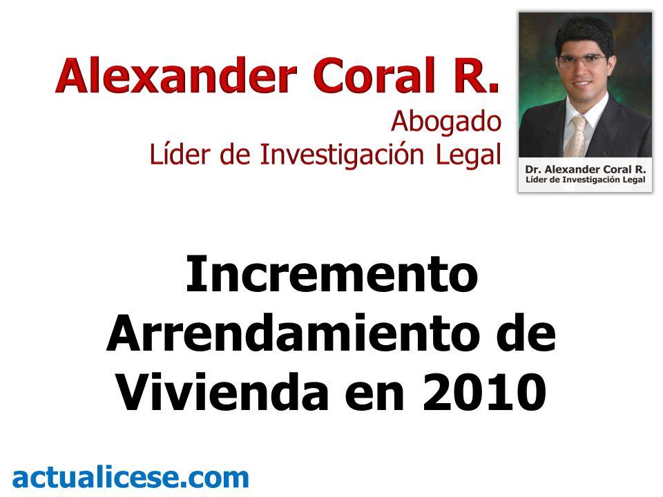 Incremento Arrendamiento de Vivienda en 2010 actualicese.com