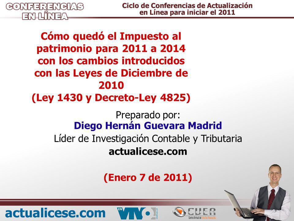 Cómo quedó el Impuesto al patrimonio para 2011 a 2014 con los cambios introducidos con las Leyes de Diciembre de 2010 (Ley 1430 y Decreto-Ley 4825) Pr