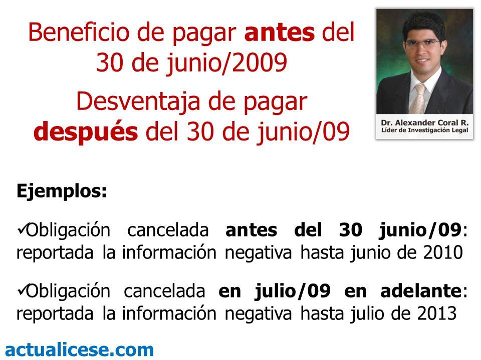 actualicese.com JUNIO de 2009 Último plazo para salir rápido de las Centrales de Riesgo Alexander Coral Ramos Abogado Líder de Investigación Legal Hasta la próxima