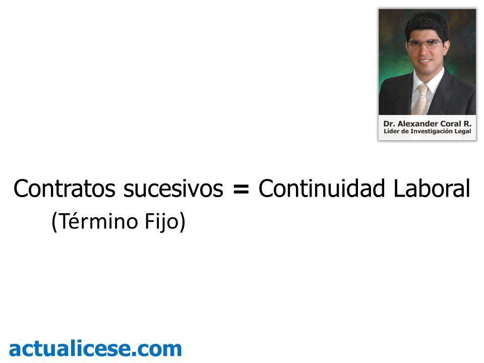 Contratos sucesivos = Continuidad Laboral (Término Fijo) actualicese.com