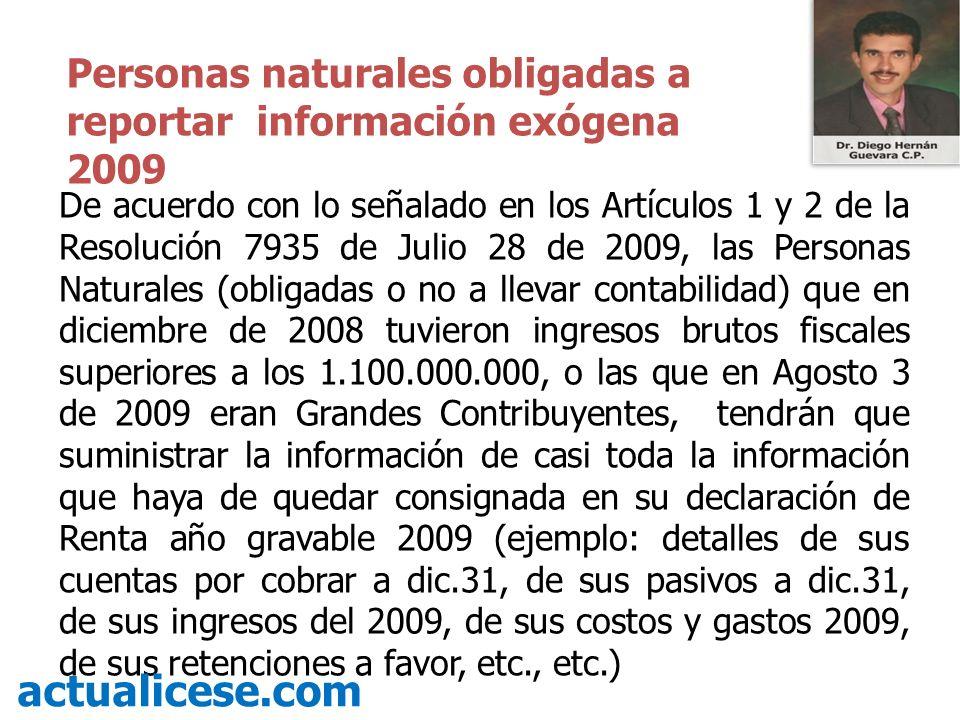De acuerdo con lo señalado en los Artículos 1 y 2 de la Resolución 7935 de Julio 28 de 2009, las Personas Naturales (obligadas o no a llevar contabili