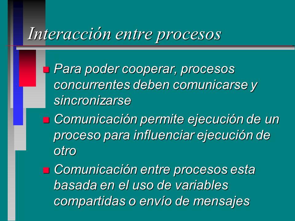 Interacción entre procesos n Para poder cooperar, procesos concurrentes deben comunicarse y sincronizarse n Comunicación permite ejecución de un proce