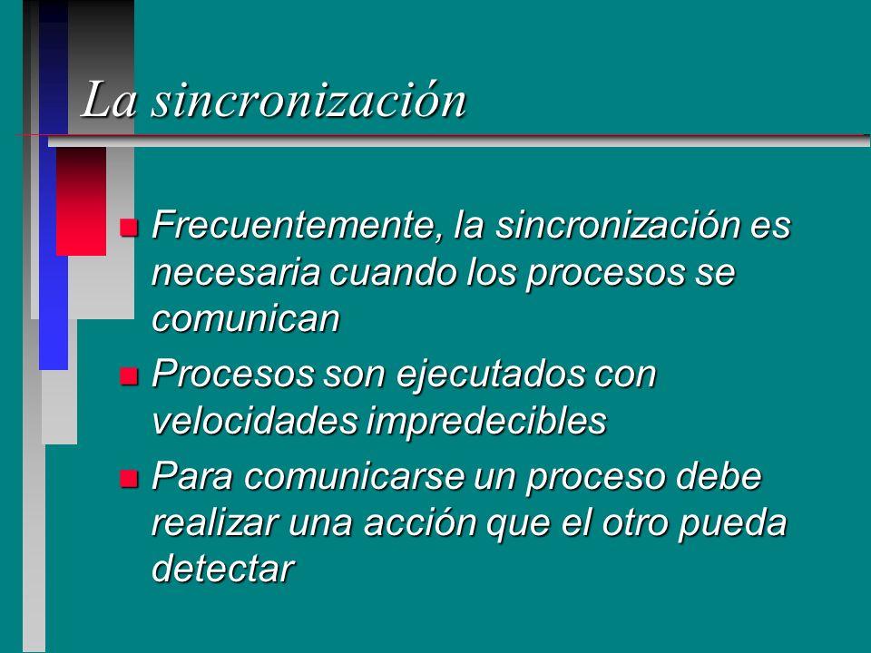 La sincronización n Frecuentemente, la sincronización es necesaria cuando los procesos se comunican n Procesos son ejecutados con velocidades impredec