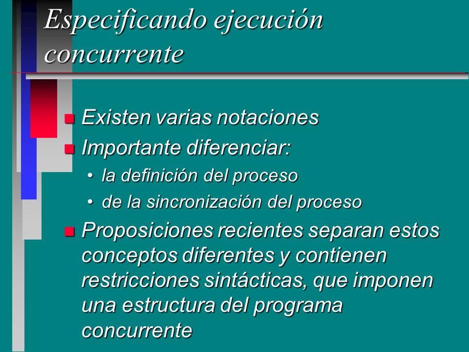 Especificando ejecución concurrente n Existen varias notaciones n Importante diferenciar: la definición del procesola definición del proceso de la sin
