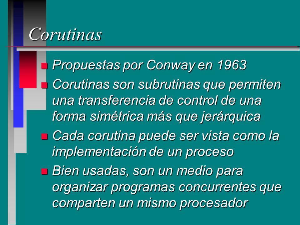 Corutinas n Propuestas por Conway en 1963 n Corutinas son subrutinas que permiten una transferencia de control de una forma simétrica más que jerárqui