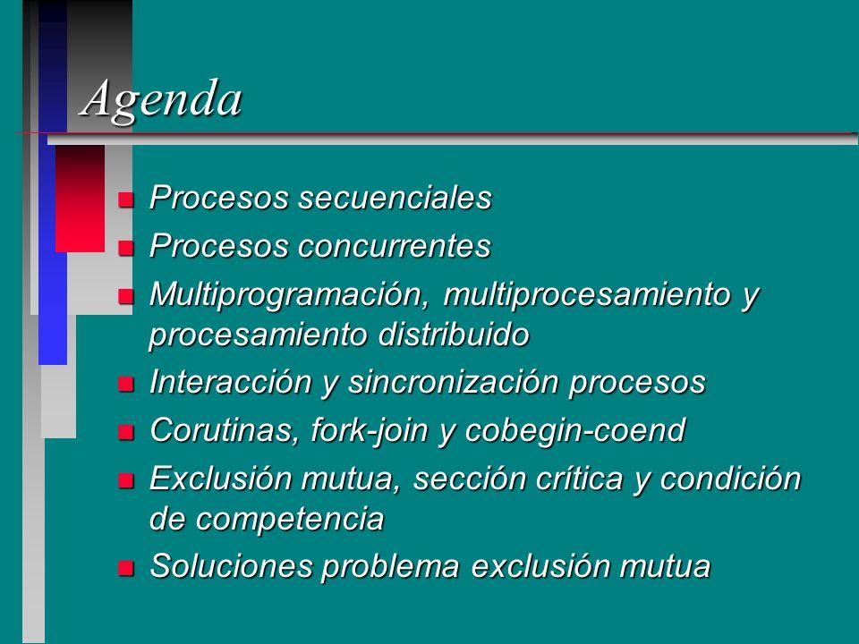Agenda n Procesos secuenciales n Procesos concurrentes n Multiprogramación, multiprocesamiento y procesamiento distribuido n Interacción y sincronizac