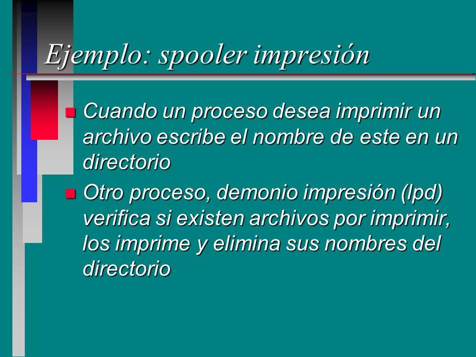 Ejemplo: spooler impresión n Cuando un proceso desea imprimir un archivo escribe el nombre de este en un directorio n Otro proceso, demonio impresión