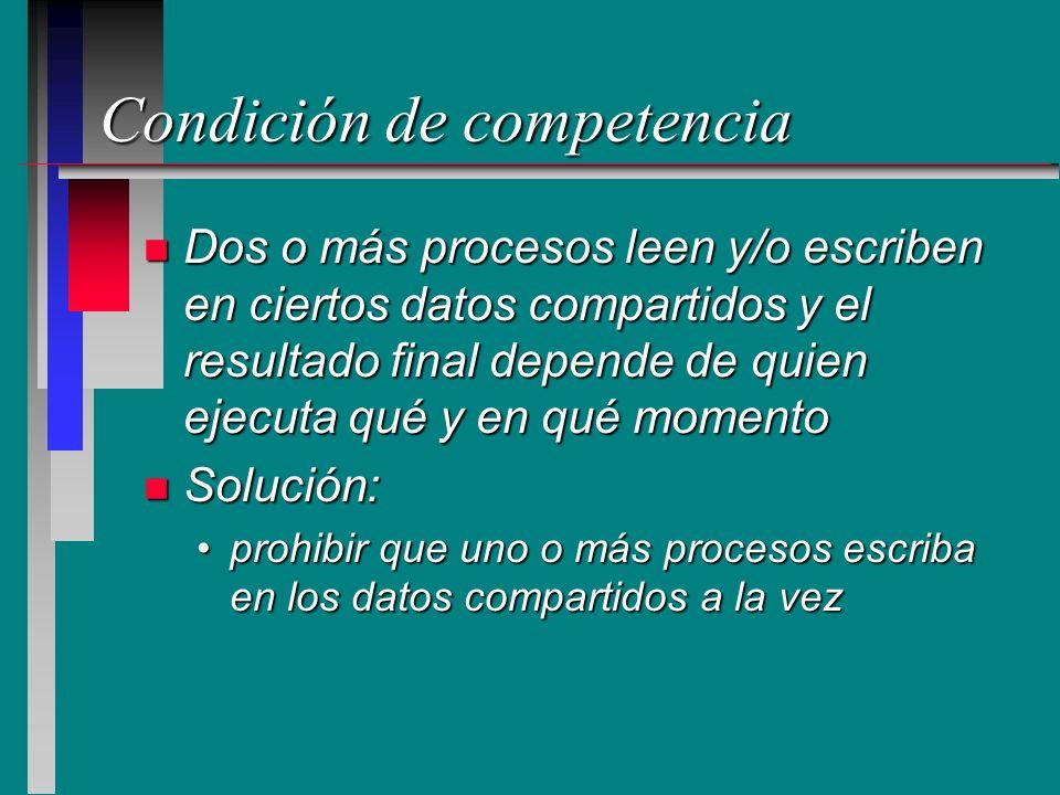Condición de competencia n Dos o más procesos leen y/o escriben en ciertos datos compartidos y el resultado final depende de quien ejecuta qué y en qu