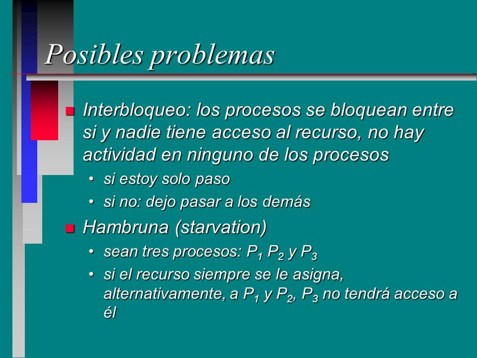 Posibles problemas n Interbloqueo: los procesos se bloquean entre si y nadie tiene acceso al recurso, no hay actividad en ninguno de los procesos si e