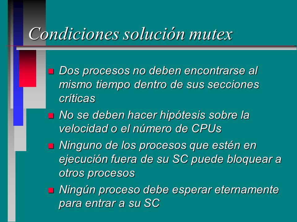 Condiciones solución mutex n Dos procesos no deben encontrarse al mismo tiempo dentro de sus secciones críticas n No se deben hacer hipótesis sobre la