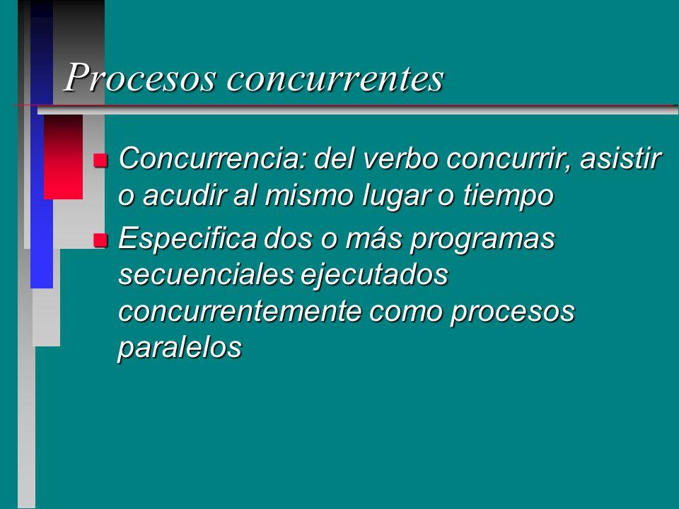 Características procesos concurrentes n Los procesos son concurrentes si existen simultáneamente n Pueden funcionar en forma totalmente independiente, unos de otros n Pueden ser asincronos lo cual significa que en ocasiones requieren cierta sincronización y cooperación
