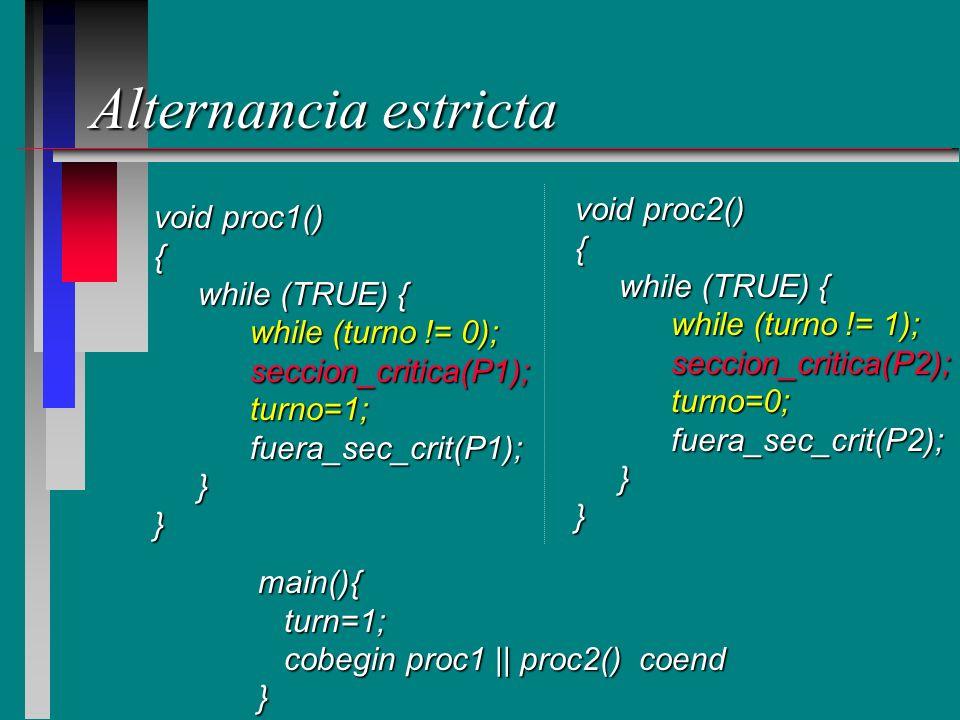 Alternancia estricta void proc1() { while (TRUE) { while (TRUE) { while (turno != 0); seccion_critica(P1);turno=1;fuera_sec_crit(P1); }} void proc2()