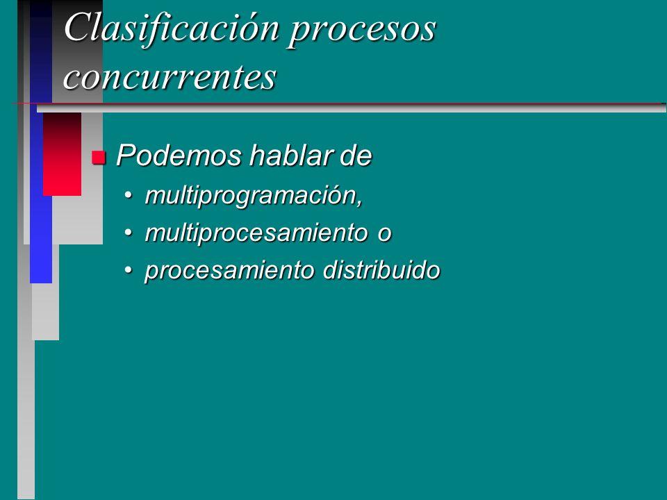 Multiprogramación n Los procesos son ejecutados, concurrentemente, compartiendo uno o más procesadores (c/u con su memoria) n El kernel del sistema operativo multiplexa los procesos en los procesadores Proc 2 Proc 5 Proc 6 Proc 3 M1M1M1M1 CPU 1 M2M2M2M2 CPU 2 Proc 7 Proc 4 Proc 1
