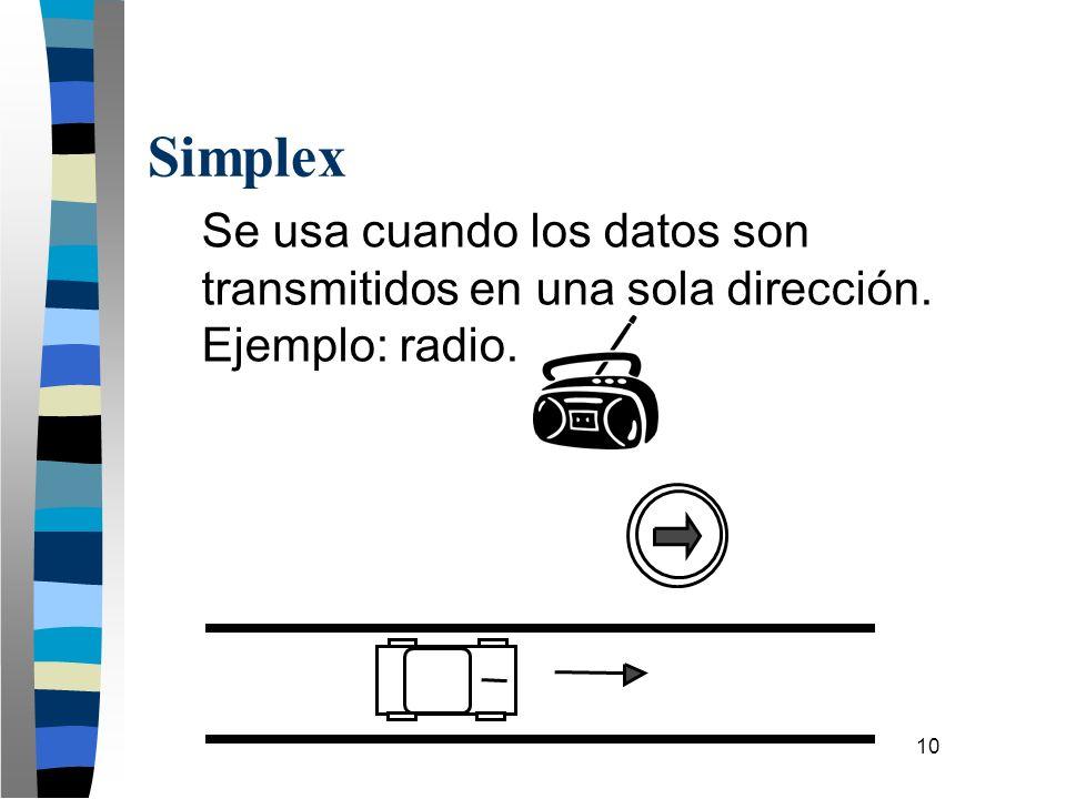 10 Simplex Se usa cuando los datos son transmitidos en una sola dirección. Ejemplo: radio.