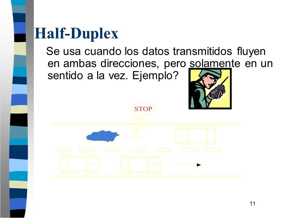 11 Se usa cuando los datos transmitidos fluyen en ambas direcciones, pero solamente en un sentido a la vez. Ejemplo? Half-Duplex