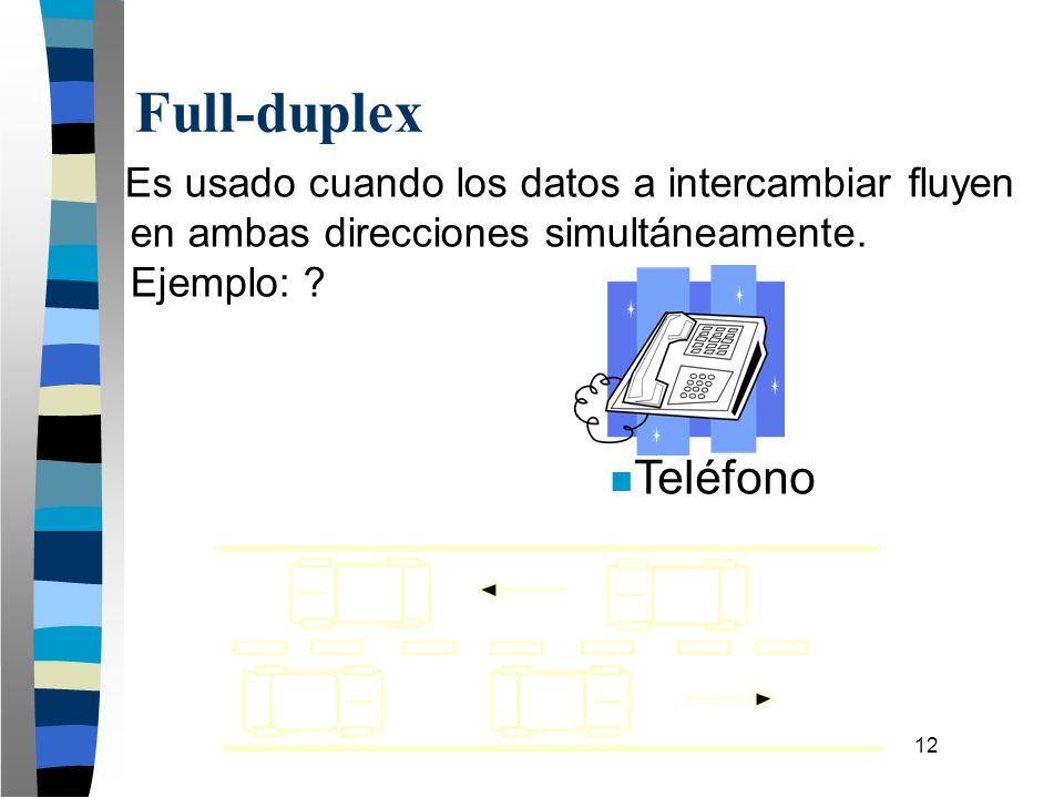 12 Es usado cuando los datos a intercambiar fluyen en ambas direcciones simultáneamente. Ejemplo: ? Full-duplex n Teléfono