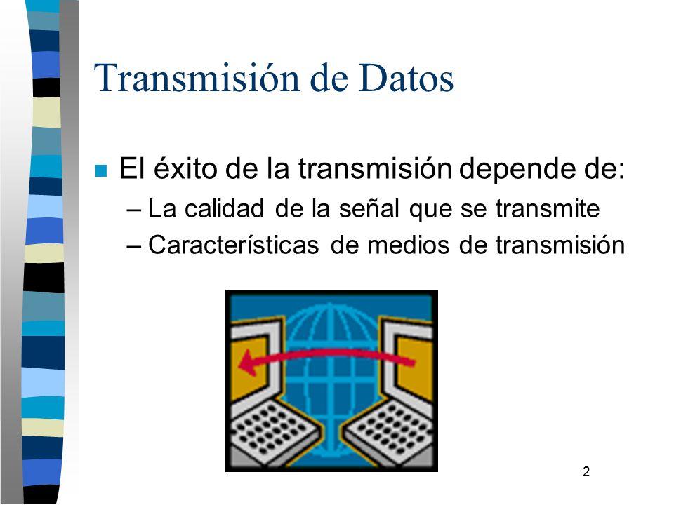 2 Transmisión de Datos n El éxito de la transmisión depende de: –La calidad de la señal que se transmite –Características de medios de transmisión
