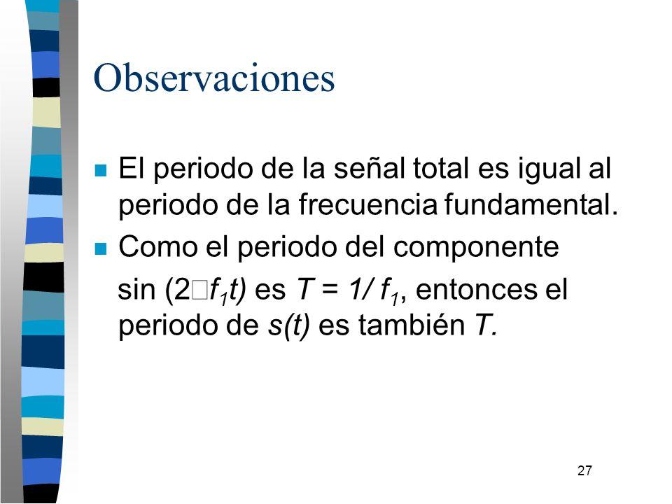 27 Observaciones n El periodo de la señal total es igual al periodo de la frecuencia fundamental. n Como el periodo del componente sin (2 f 1 t) es T