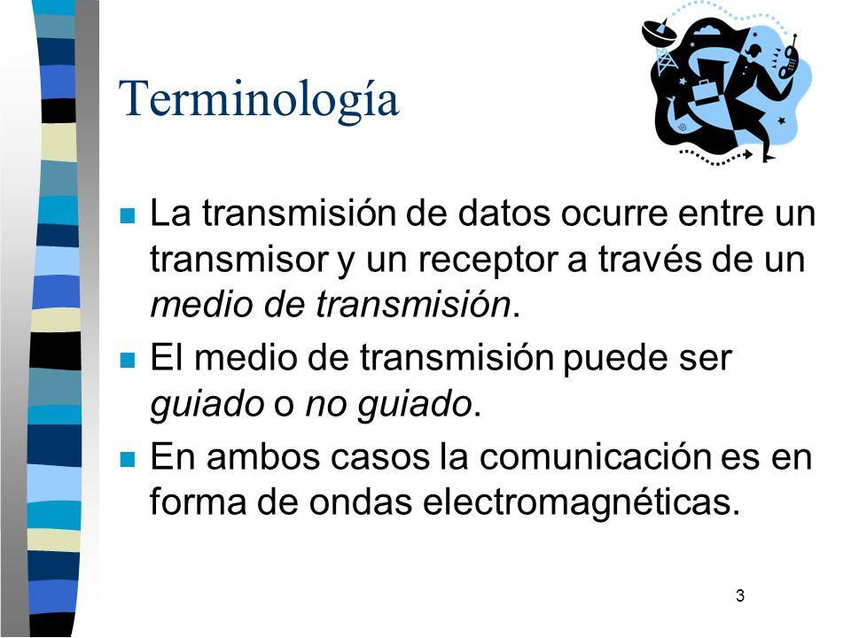 3 Terminología n La transmisión de datos ocurre entre un transmisor y un receptor a través de un medio de transmisión. n El medio de transmisión puede