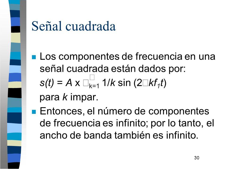30 Señal cuadrada n Los componentes de frecuencia en una señal cuadrada están dados por: s(t) = A x k=1 1/k sin (2 kf 1 t) para k impar. n Entonces, e
