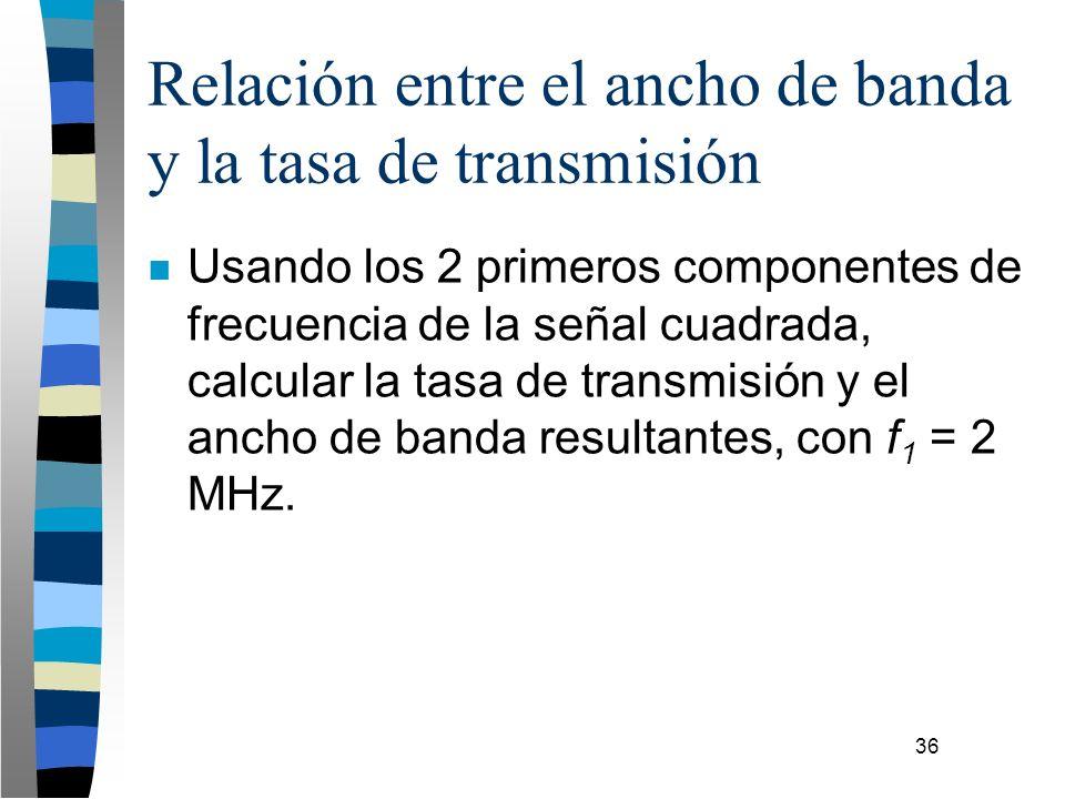 36 Relación entre el ancho de banda y la tasa de transmisión n Usando los 2 primeros componentes de frecuencia de la señal cuadrada, calcular la tasa