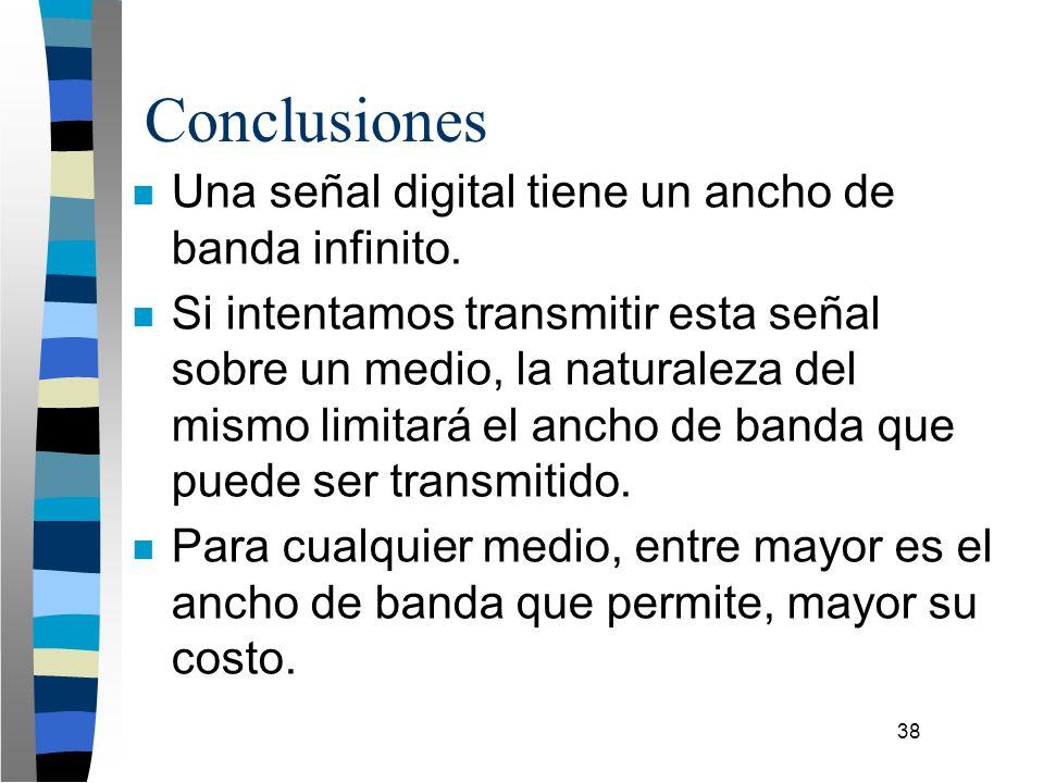 38 Conclusiones n Una señal digital tiene un ancho de banda infinito. n Si intentamos transmitir esta señal sobre un medio, la naturaleza del mismo li
