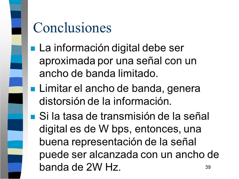 39 Conclusiones n La información digital debe ser aproximada por una señal con un ancho de banda limitado. n Limitar el ancho de banda, genera distors